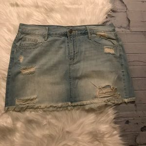 Old Navy Light Blue Jean Denim Distressed Skirt